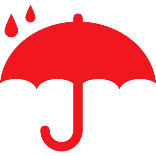 protection-symbol-of-opened-umbrella-silhouette-under-raindrops